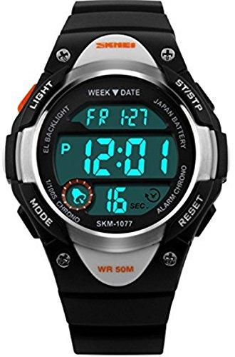 Kinder-Armbanduhr für Outdoor-Aktivitäten, Sport, wasserdicht, zum Schwimmen, LED, Digital-Uhr, mit Alarm, mit Licht an der Rückseite, für Jungen und Mädchen, Blau