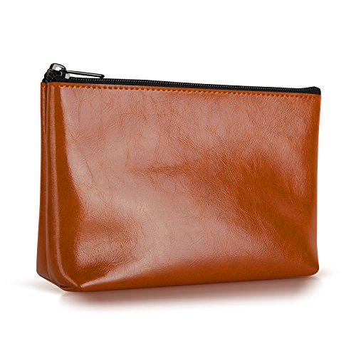 Ayotu PU Leather Lightweight Waterproof Portable Storage Pouch Bag Case Accessories Organizer, Electronics Accessory Travel Organize Case, Cable Management Hard Drive Bag -Light Brown