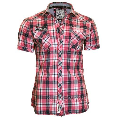 Sublevel - Camisa casual - Cuadrados - con botones - Manga Larga - para hombre rosa 46