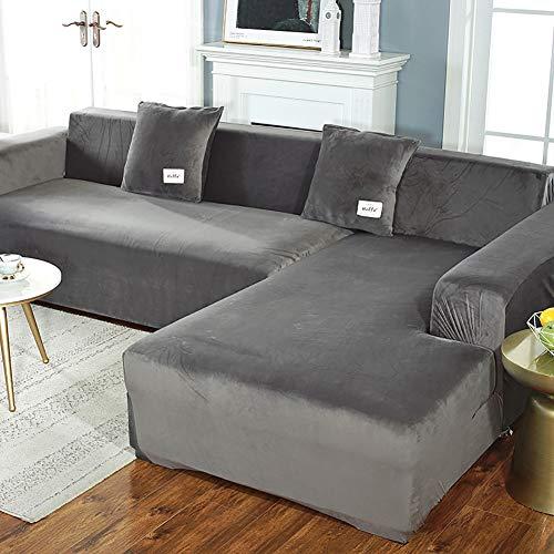 TIYKI Super Stretch Couch Cover para Sofá En Forma De L,Todo-Incluido Cubiertas Antideslizantes De Sofá,para Sala De Estar Perro Protector De Muebles De Mascotas-Gris. 235-300cm(93-118inch)