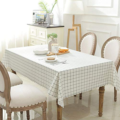 Mantel a la moda, mantel de cocina rectangular plastificado mantel de mesa impermeable de PVC antiaceite impermeable antipolvo color beige de alta calidad