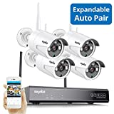 Wireless Security Camera System, Strong Signal Version, SANNCE 1080P 8CH NVR 4Pcs 2MP Indoor Outdoor WiF Surveillance Cameras Night Vision,IP66 Weatherproof Motion Detection, Remote Monitoring,NO HDD