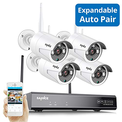 Wireless Security Camera System, Strong Signal Version, SANNCE 1080P 8CH NVR 4Pcs 2MP Indoor Outdoor WiF Surveillance Cameras Night Vision,IP66 Weatherproof Motion Detection, Remote Monitoring,NO HDD Camera Features Kits NVR Photo Surveillance