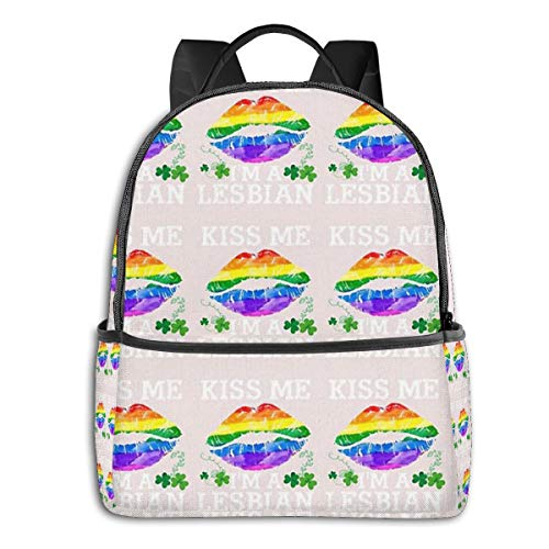 Kiss Me I'm A Lesbian T-Shirt St Patricks Day Lips LGBT Backpack Unisex School Daily Backpack Lightweight Casual Travel Outdoor Camping Daypack