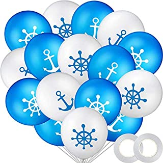 50 Pieces Nautical Print Latex Balloons Set Nautical Anchor Balloons and Silver Ribbons for Navigation Themed Birthday Baby Shower Party Supplies