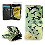 CoverON for Motorola Moto E (2nd Generation 2015) Wallet Case [CarryAll Series] Flip Credit Card Phone Cover Pouch (Will Not Fit Moto E 1st Gen.) - Free Bird Design - with Screen Protector and Wristlet Strap