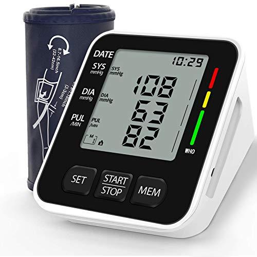 NWOUIIAY Tensiómetro de Brazo Eléctrico Digital con Monitoreo de Arritmia Memorias de 2 Usuarios(2 * 99) Gran Pantalla LCD Brazalete 22-42cm Negro