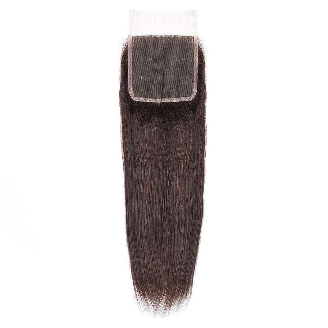 原油安定振りかけるHOHYLLYA 絹のような長い茶色のレースの閉鎖ストレートヘアレース前頭ブラジル髪の耳に4 x 4自由な部分の人間の毛髪の女性の合成かつらレースのかつらロールプレイングかつら (色 : 黒, サイズ : 18 inch)