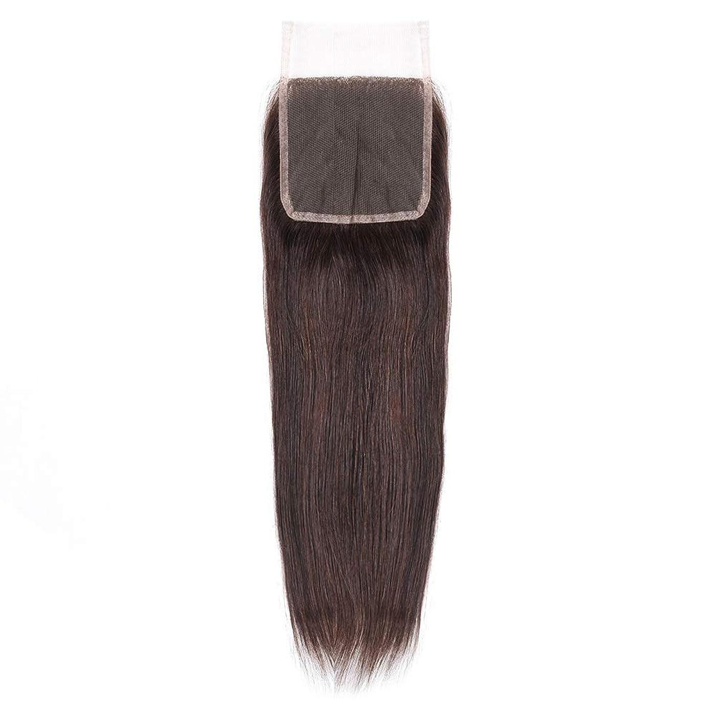 破産距離印刷するHOHYLLYA 絹のような長い茶色のレースの閉鎖ストレートヘアレース前頭ブラジル髪の耳に4 x 4自由な部分の人間の毛髪の女性の合成かつらレースのかつらロールプレイングかつら (色 : 黒, サイズ : 18 inch)