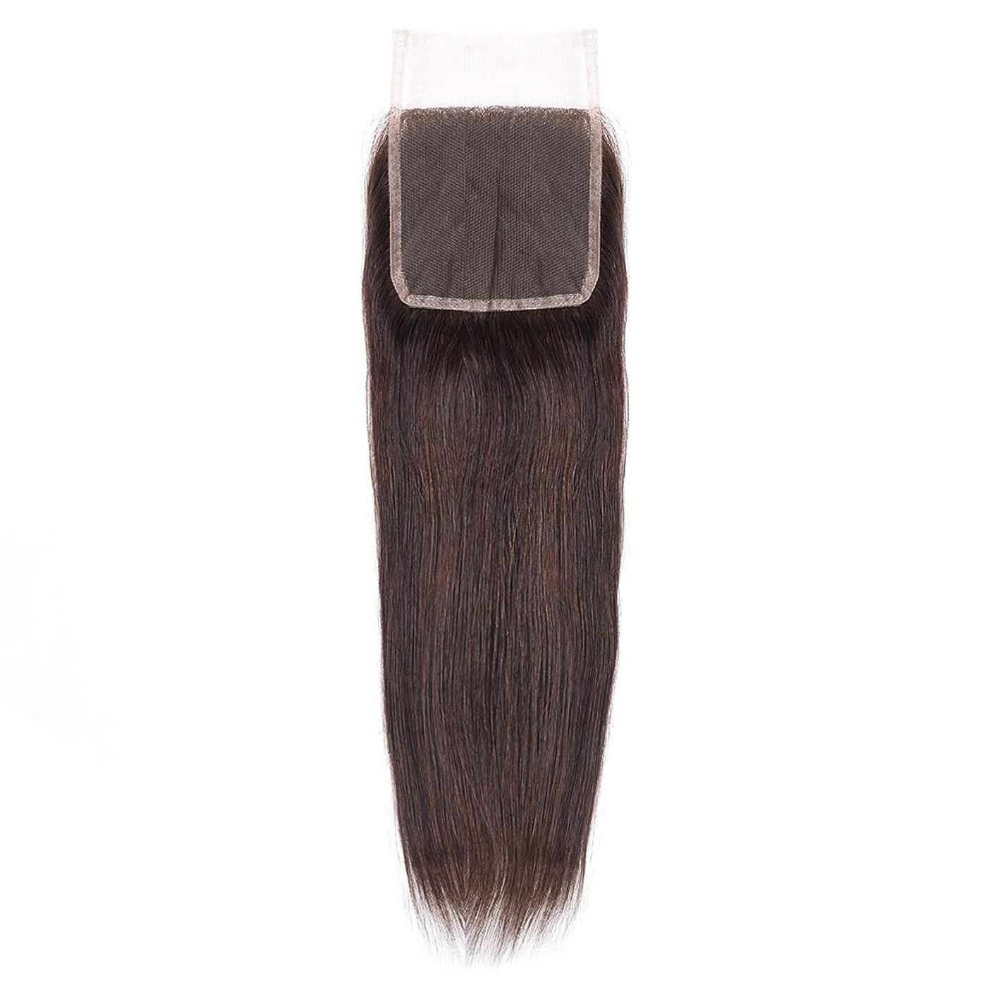 物質中性レジデンスHOHYLLYA 絹のような長い茶色のレースの閉鎖ストレートヘアレース前頭ブラジル髪の耳に4 x 4自由な部分の人間の毛髪の女性の合成かつらレースのかつらロールプレイングかつら (色 : 黒, サイズ : 18 inch)