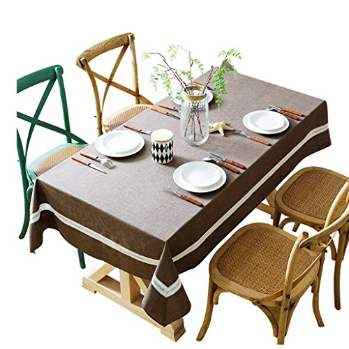 Nappe de couleur unie tissu étanche coton table tissu nappe simple simple moderne rectangulaire table basse (Size : 130 * 200cm)
