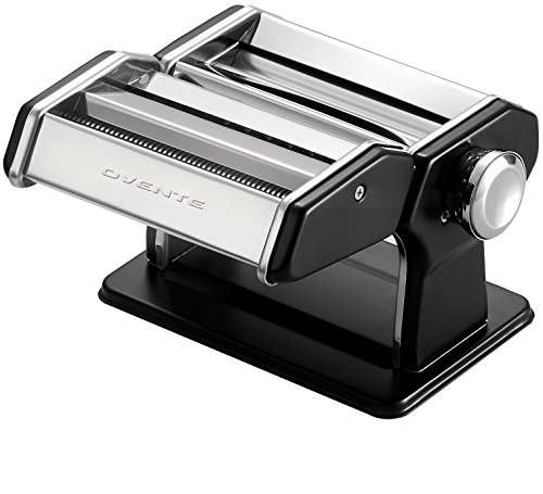 Ovente Stainless Steel Pasta Maker, Includes Hand Crank, Adjustable Countertop Clamp, and Double Pasta Cutter Attachment, 150mm, Vintage Style, 7-Position...