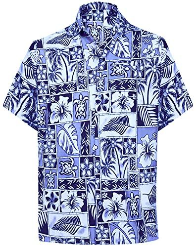 LA LEELA Casual Hawaiana Camisa para Hombre Señores Manga Corta Bolsillo Delantero Surf Palmeras Caballeros Playa Aloha XL-(in cms):121-132 Azul_W404