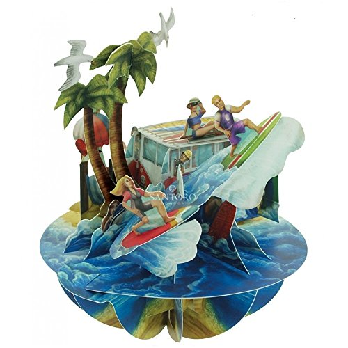Santoro 3D Pirouette Grußkarte - Strand und Surfen
