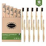 10 Pezzi Spazzolini da Denti in Bambù, Spazzolino in Legno da Vegano Biologico Biodegradabile senza BPA