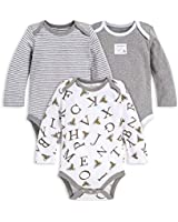 Burt's Bees Baby Baby Boys' Bodysuits, 3-Pack Long & Short-Sleeve One-Pieces, 100% Organic Cotton (0-3 Months, A-Bee-C)