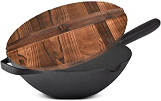 Yuany Wok Round Bottom Cast Iron Pot,Old-Fashioned Thickened Large-Scale Cooking Pot,Uncoated, Suppressing Soot,Physical Non-Stick Pot (Color : Multi-Colored)