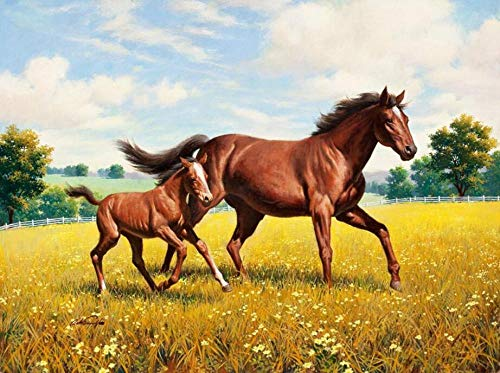 RTYUIHN Carta da parati 3D decorazione cavallo pittura su erba dorata a cavallo decorazione moderna arte murale