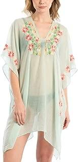 Me Plus Women Fashion Floral Embroidery Summer Beach Bikini Cover Up Shawl Wrap