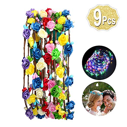 9 Pcs Led Flower Headband Light Up, (20 Hours Works Led Floral Headbands), Include 10 Paper Flowers and 10 Led Light Up Floral Headbands by AniSqui