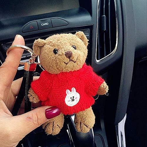 Bedom wallpaper Bär Puppe Schlüsselbund Dame Auto Schlüsselanhänger niedlichen Cartoon Plüsch Anhänger Tasche Anhänger-Connie Kaninchen rot