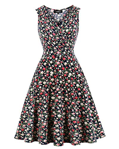 MINTLIMIT Hepburn Sleeveless Style Retro Swing Rockailly 1930 Dresses for Women Vintage (Floral Navy Blue,Size 2XL)