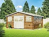 Alpholz Gartenhaus Floridan aus Massiv-Holz | Gerätehaus mit 28 mm Wandstärke | Garten Holzhaus inklusive Montagematerial | Geräteschuppen Größe: 509 x 415 cm | Satteldach