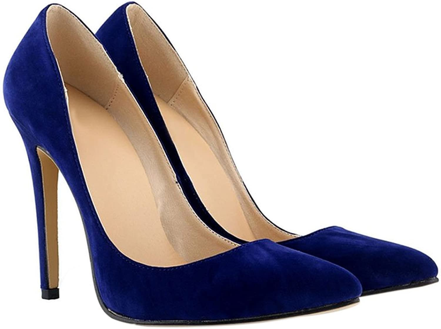 Meijunter Ladies 11CM High Heel Pointed Stiletto Suede Leather Classic Pumps shoes bluee