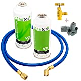 GOLDMAN SERVICE Kit Recarga de Gas Refrigerante para Aire Acondicionado + Válvula de Servicio + Manguera + Obús de Carga rápida. Botella de Gas orgánico ecológico para Coches, frigoríficos.