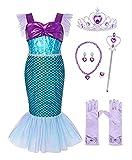 Jurebecia Vestido Sirenita Niñas Princesa Vestidos Niñas Sirena Vestir Fiesta de Lujo Cumpleaños Halloween Niños Vestidos con Accesorios Azul 77-8 Años