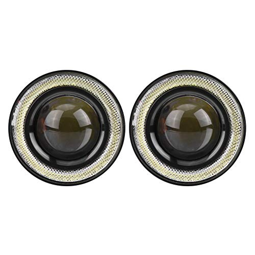 Luces antiniebla Qiilu LED antiniebla Faros Delanteros 3200lm Ojo de ángel 1 par con kit de montaje (3'')