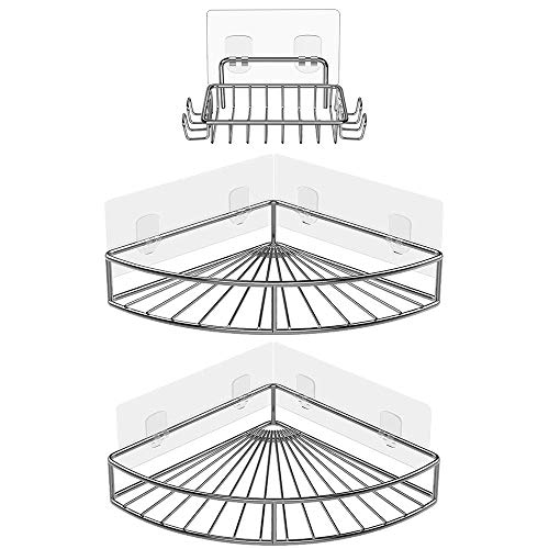 Oriware Eckablage Duschkörb mit Seifenhalter Ablage Selbstklebend Wandablage Badezimmer Caddy SUS304 Edelstahl Badregal Ohne Bohren - 3er Set