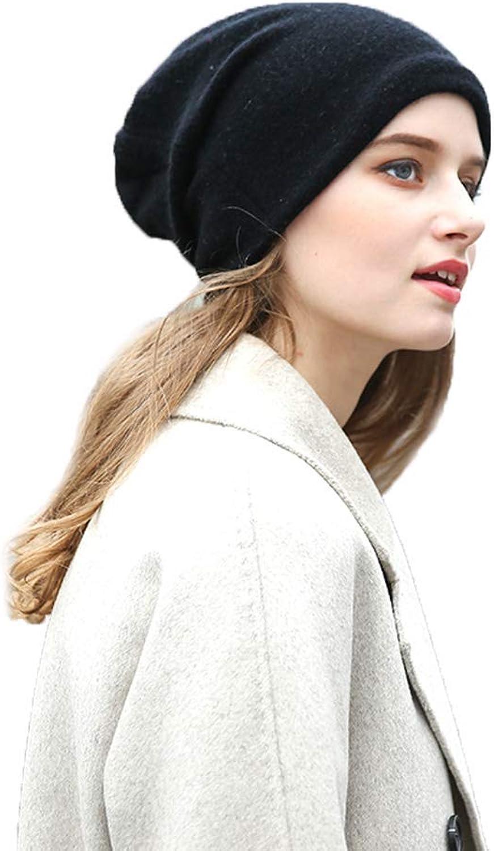 Balaclavas Women's hat Double Cashmere hat Autumn Winter hat Warm Thick hat Female Warm Winter hat Head Cap Knit hat Head Cap (color   Black, Size   28  24cm)