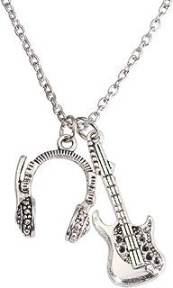 Amosfun - Collana con ciondolo a forma di chitarra musicale, accessorio per compleanno, fidanzato, regalo