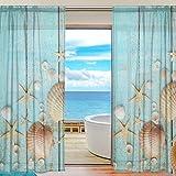 Funnyy, tenda da finestra in stile vintage con conchiglie e stelle marine, in legno di tulle per camera da letto, soggiorno, decorazione per la casa, 139,7 x 213,4 cm, 2 pannelli