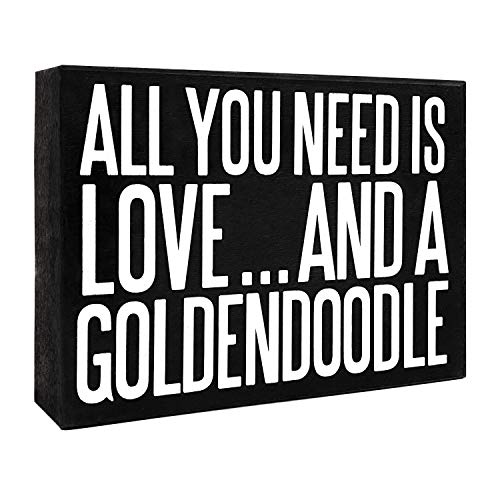 JennyGems All You Need is Love and A Goldendoodle - Goldendoodle Gift Series, Goldendoodle Quotes, Goldendoodle Moms and Owners - Goldendoodle Sign - Goldendoodle Wooden Box Signs - Made in USA