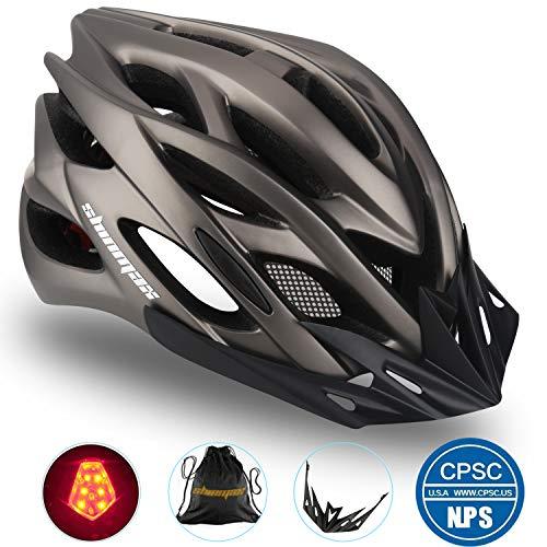 Shinmax Casco Bicicletacon Visera,Casco de Ciclismo Sport,Protección de Seguridad Vial en Bicicleta,Bici Ciclismo para Adulto con Luz Trasera LED,Cascos de Bicicleta BMX Mountain Mujeres Adultos
