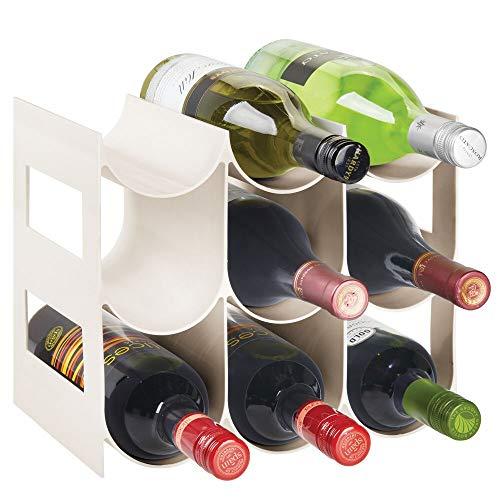 mDesign Práctico estante para botellas de vino – Botelleros para vino y otras bebidas para guardar hasta 9 unidades – Vinoteca de plástico de pie – crema