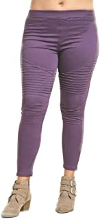 Umgee Plus Size Washed Moto Ankle Length Jeggings Pintuck Zipper Detail