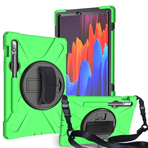 Galaxy tablet case For Samsung Galaxy Tab S7 (2020) T870 Shockproof Colorful Silicone + PC Protective Case with Holder & Shoulder Strap & Hand Strap & Pen Slot Galaxy tablet case (Color : Green)