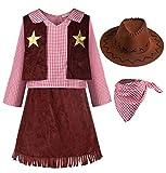 ReliBeauty Cowgirl Cowboy Kostüm Mädchen Kinder mit Hut und Halstuch Karneval Faschingskostüme Kinder,100