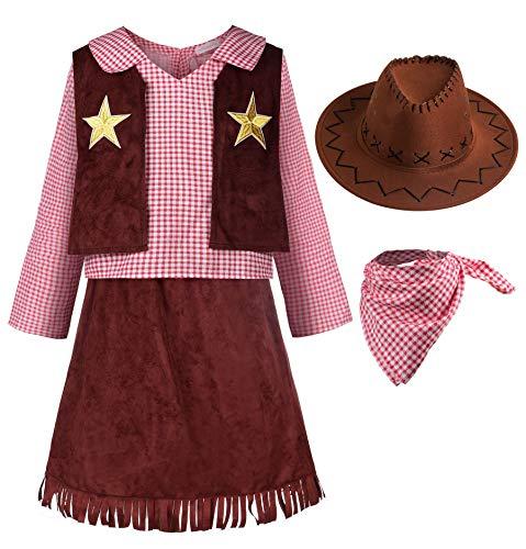 ReliBeauty Cowgirl Cowboy Kostüm Mädchen Kinder mit Hut und Halstuch Karneval Faschingskostüme Kinder,140