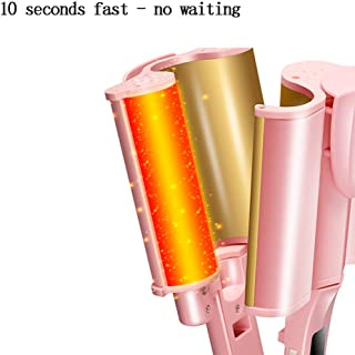 Hair Curler 3 Barrel Curling Hair Waver Iron Curling Wands, Ceramic Hot Tools Professional Hairstyle, 32mm Pink
