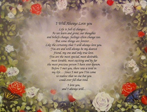 "Anniversary Gift for Wife or Girlfriend""I Will Always Love You"" Love Poem 1st 5th 10th 20th 25th 30th"