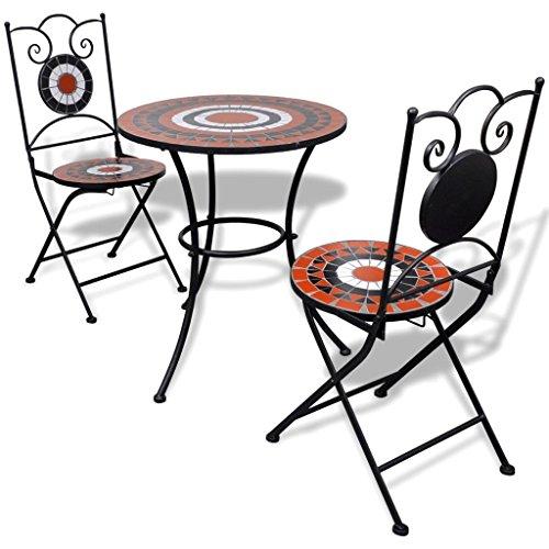 Lingjiushopping Bistro Table mosaïque 60 cm avec 2 chaises Terre Cuite/Blanc Couleur : Terre Cuite/Blanc Matériau : Acier laqué Structure en Fer + carrelage en céramique sièges et Dessus de Table