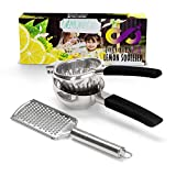 JUMBO, Lemon Squeezer Juicer by InfinityLA, Heavy Duty Citrus Juicer, Premium Stainless Steel Lime Press with Silicone Handles Zester Grater, eBook with tips to impress your guests