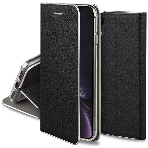 Moozy Funda con Tapa para iPhone XR, de Cuero PU Negro – Elegante Flip Cover con Bordes Metalizados de Protección, Soporte y Tarjetero