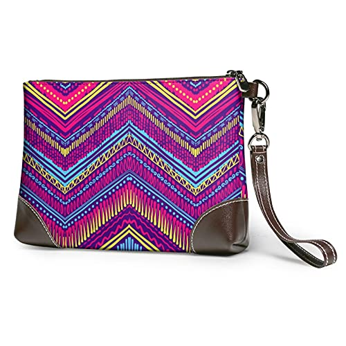 Colorful Zigzag Stripe Leather Clutch for Women Oversized Bag Purse Wristlet Handbag