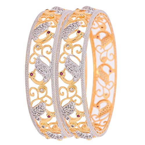 Ratnavali Jewels CZ Zirkonia Gold Tone Pfau Indische Bollywood Hochzeit Armreifen Kada Schmuck Frauen Braut