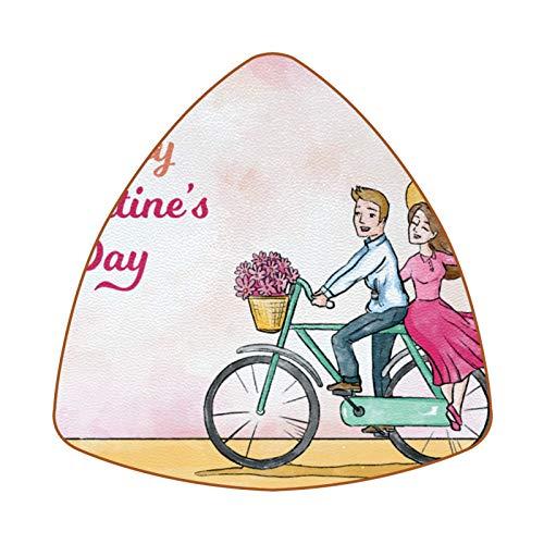 Posavasos triangulares para bebidas, acuarela bicicleta, taza de cuero, alfombrilla para proteger muebles, resistente al calor, decoración de bar de cocina, juego de 6